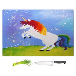 Artistic Kitchen Bar Cutting Boards | nJoy Art - Rainbow Unicorn ll