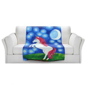 Artistic Sherpa Pile Blankets   nJoy Art - Unicorn Starry Night