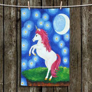 Unique Hanging Tea Towels | nJoy Art - Unicorn Starry Night | Animal Make Believe Child Like