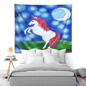 Artistic Wall Tapestry | nJoy Art - Unicorn Starry Night