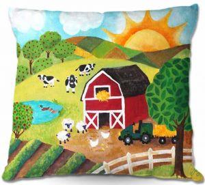 Decorative Outdoor Patio Pillow Cushion | nJoy Art - Daybreak on the Farm