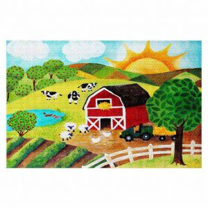 Decorative Area Rug 4 x 6 Ft from DiaNoche Designs by nJoy Art - Daybreak on the Farm