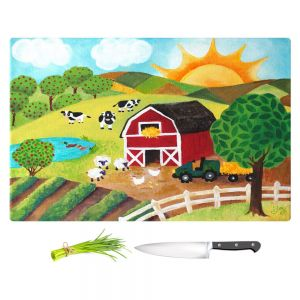 Artistic Kitchen Bar Cutting Boards | nJoy Art - Daybreak on the Farm