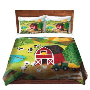 Unique Duvet Twill Toddler from DiaNoche Designs by nJoy Art - Daybreak on the Farm