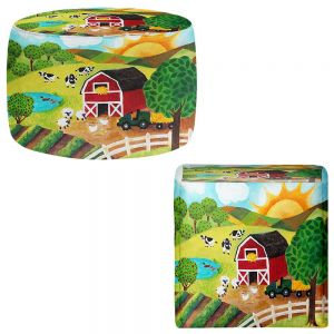 Round and Square Ottoman Foot Stools | nJoy Art - Daybreak on the Farm