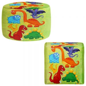 Round and Square Ottoman Foot Stools | nJoy Art - Dinosaur Jumble