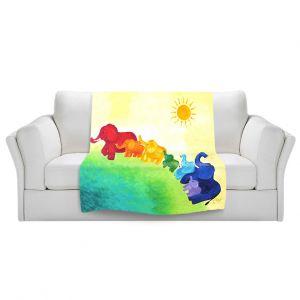 Artistic Sherpa Pile Blankets   nJoy Art Elephant Rainbow