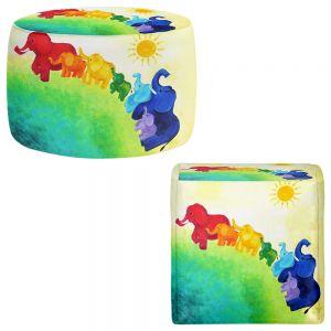 Round and Square Ottoman Foot Stools | nJoy Art - Elephant Rainbow