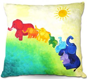 Throw Pillows Decorative Artistic | nJoyArt's Elephant Rainbow