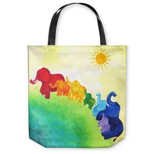 Unique Shoulder Bag Tote Bags | nJoy Art Elephant Rainbow