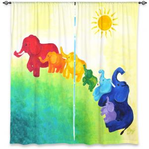 Unique Window Curtain Unlined 40w x 61h from DiaNoche Designs by nJoy Art - Elephant Rainbow