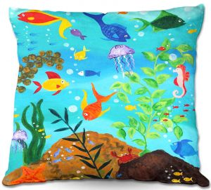 Unique Outdoor Pillow 16X16 from DiaNoche Designs by nJoy Art - Happy Fish III