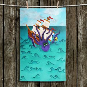 Unique Hanging Tea Towels | nJoy Art - Kraken | Octopus Boat Moby Dick