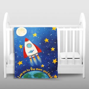 Artistic Sherpa Pile Blankets   nJoy Art Love you to the Moon Rocket