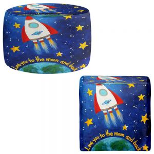 Round and Square Ottoman Foot Stools | nJoy Art - Love you to the Moon Rocket