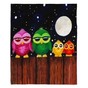 Decorative Fleece Throw Blankets | nJoy Art - Owls on a Fence BLACK