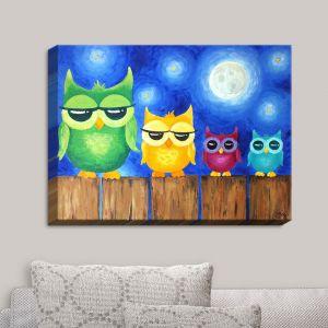 Decorative Canvas Wall Art | nJoy Art - Owls on a Fence Blue