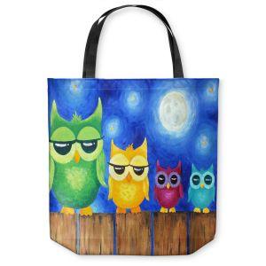 Unique Shoulder Bag Tote Bags | nJoy Art Owls on a Fence BLUE
