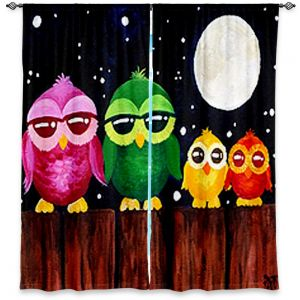 Unique Window Curtain Unlined 40w x 61h from DiaNoche Designs by nJoy Art - Owls on a Fence BLACK