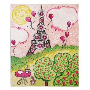 Decorative Fleece Throw Blankets | nJoy Art - Paris In Pink