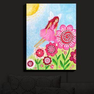 Nightlight Sconce Canvas Light | nJoy Art - Pink Flower Fairy | Flowers Make Believe Fairies Child Like