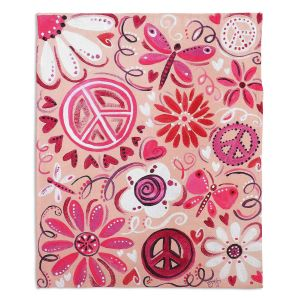 Decorative Fleece Throw Blankets | nJoy Art - Pink Peace