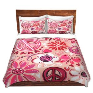 Artistic Duvet Covers and Shams Bedding   nJoy Art - Pink Peace