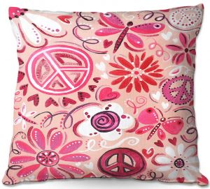 Unique Outdoor Pillow 16X16 from DiaNoche Designs by nJoy Art - Pink Peace
