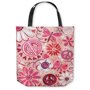 Unique Shoulder Bag Tote Bags | nJoy Art - Pink Peace