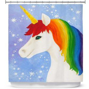 Premium Shower Curtains | nJoy Art - Rainbow Unicorn l