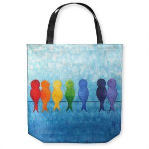 Unique Shoulder Bag Tote Bags | nJoy Art - Rainbow Birds Wire | creature colors silhouette