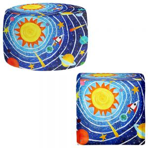 Round and Square Ottoman Foot Stools | nJoy Art - Solar System VII