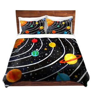 Unique Duvet Premium Woven from DiaNoche Designs by nJoy Art - Solar System IV