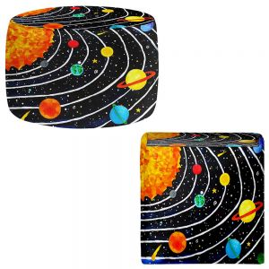 Round and Square Ottoman Foot Stools | nJoy Art - Solar System IV