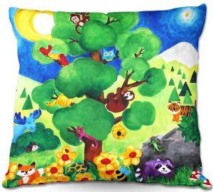 Decorative Outdoor Patio Pillow Cushion | nJoy Art - Tree of Wildlife