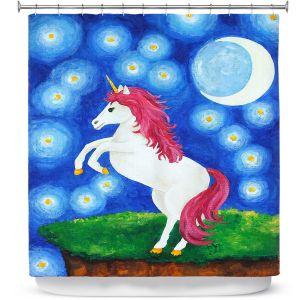 Premium Shower Curtains | nJoy Art - Unicorn Starry Night