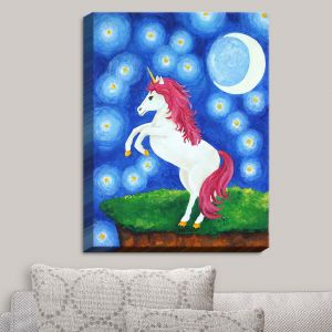 Decorative Canvas Wall Art | nJoy Art - Unicorn Starry Night | Animal Make Believe Child Like