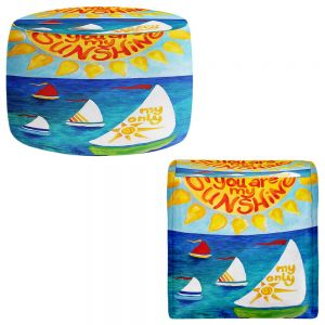 Round and Square Ottoman Foot Stools | nJoy Art - You Are My Sunshine Sailing
