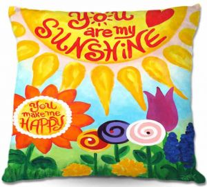 Throw Pillows Decorative Artistic | nJoy Art You are my Sunshine Floral