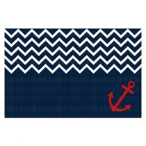 Decorative Floor Coverings | Organic Saturation - Anchor Nautical Chevron Red Blue