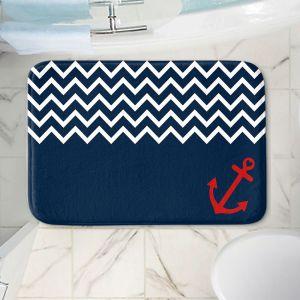 Decorative Bathroom Mats | Organic Saturation - Anchor Chevron Red Blue