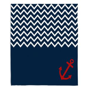 Decorative Fleece Throw Blankets | Organic Saturation - Anchor Chevron Red Blue