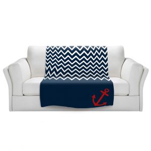 Artistic Sherpa Pile Blankets | Organic Saturation - Anchor Chevron Red Blue