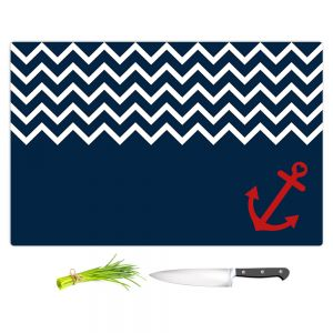 Artistic Kitchen Bar Cutting Boards | Organic Saturation - Anchor Chevron Red Blue