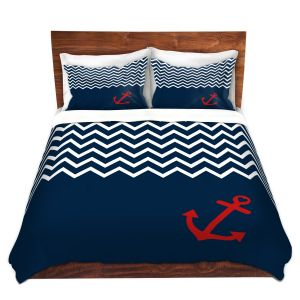 Artistic Duvet Covers and Shams Bedding | Organic Saturation - Anchor Chevron Red Blue