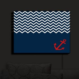 Nightlight Sconce Canvas Light | Organic Saturation - Anchor Chevron Red Blue | Stylized