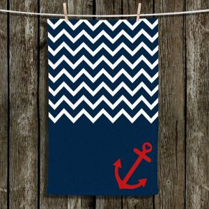 Unique Hanging Tea Towels | Organic Saturation - Anchor Chevron Red Blue | Stylized