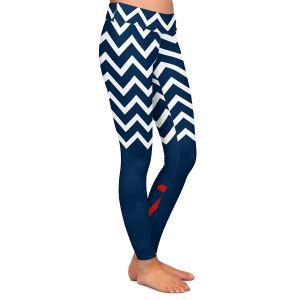 Casual Comfortable Leggings | Organic Saturation - Anchor Nautical Chevron Red Blue