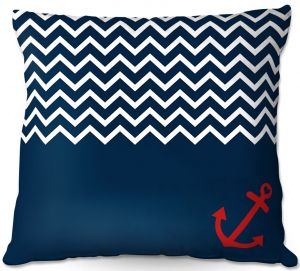 Decorative Outdoor Patio Pillow Cushion | Organic Saturation - Anchor Chevron Red Blue