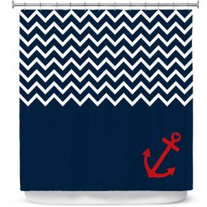 Premium Shower Curtains | Organic Saturation - Anchor Nautical Chevron Red Blue